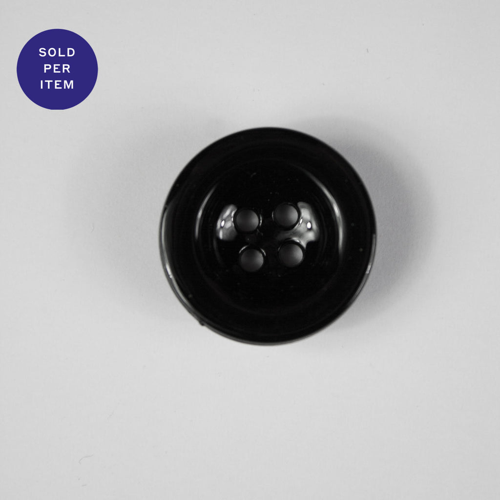Boris Black 4-Hole Plastic Button - 24mm