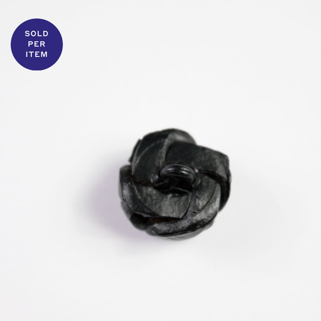 Antique Black Leather Button - 17mm