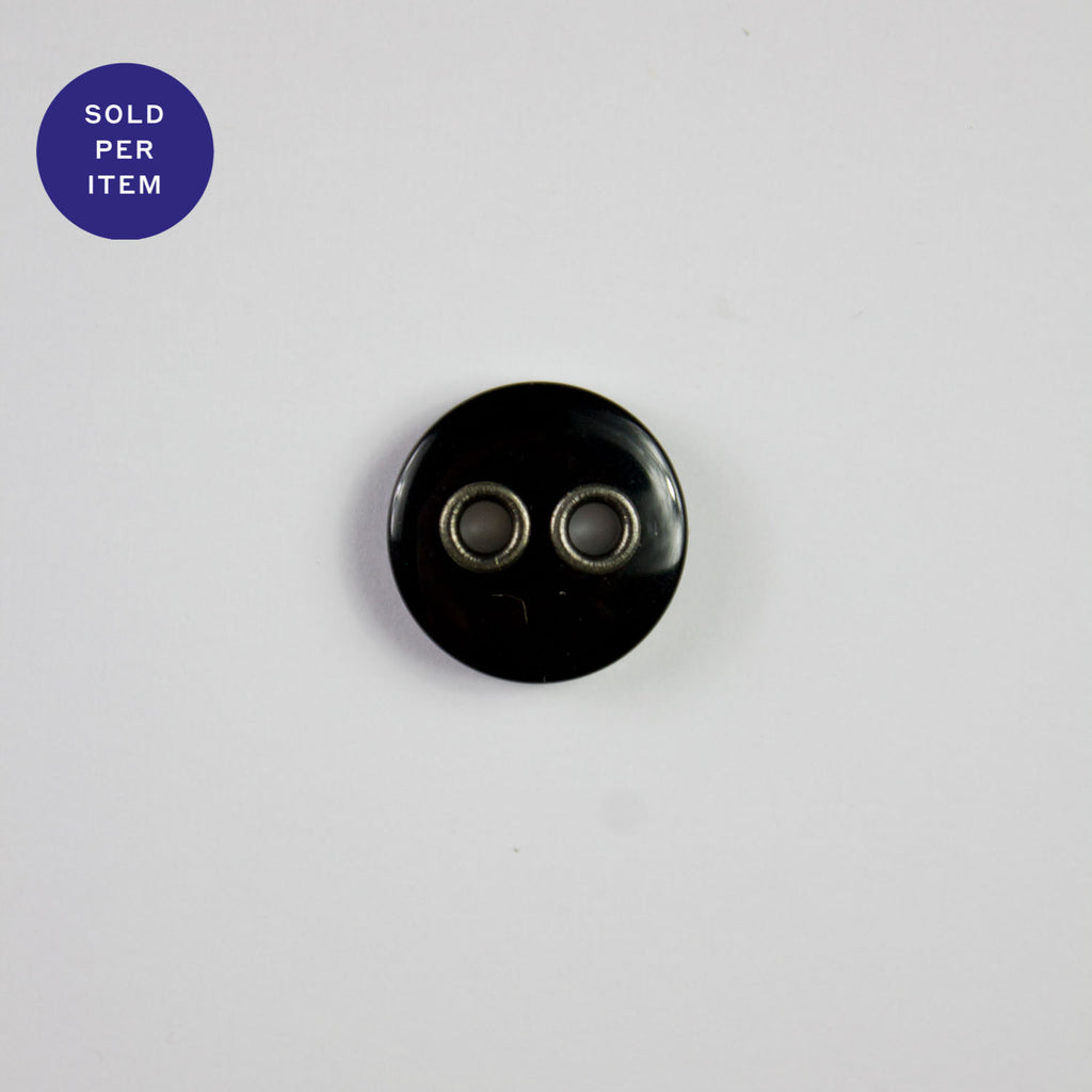 Vince Black 2-Hole Plastic Button - 15mm