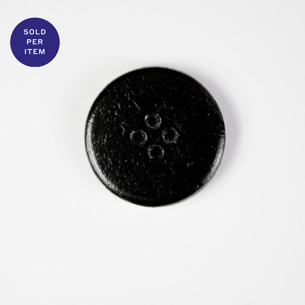 Black 4-Hole Leather Button