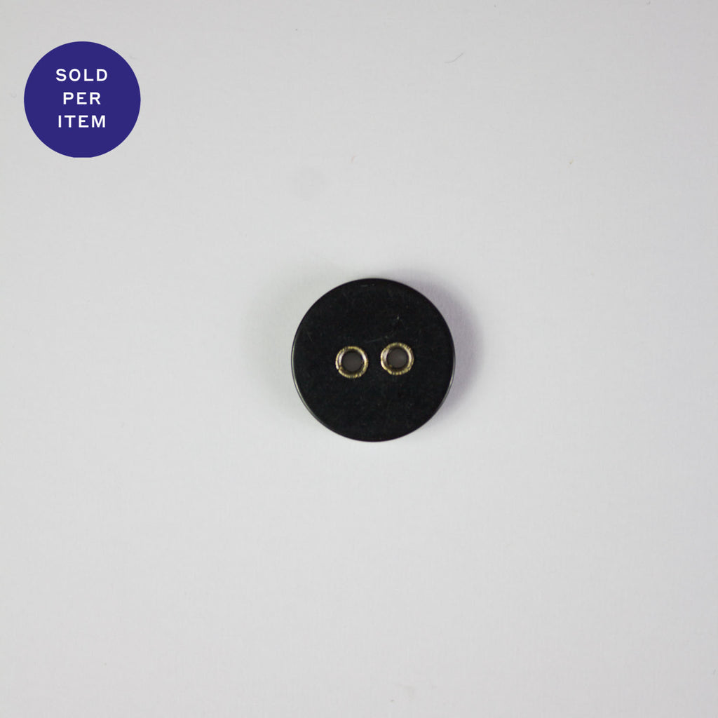 Thomas Black 2-Hole Plastic Button - 15mm