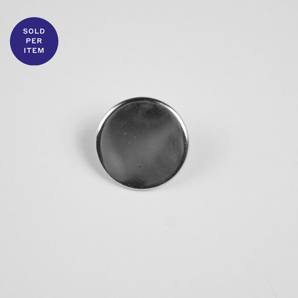 Flat Silver Metal Button - 17mm