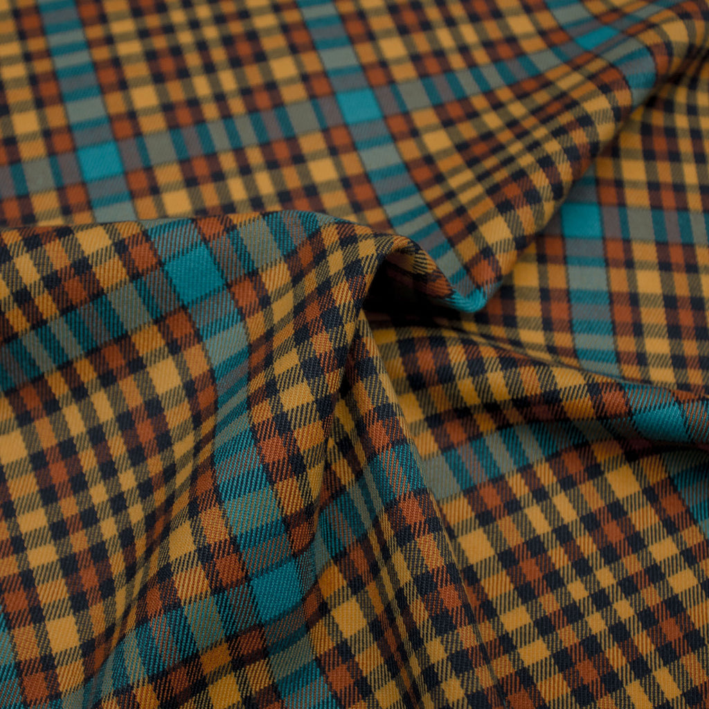 Leander Ocher Plaid Viscose Blend