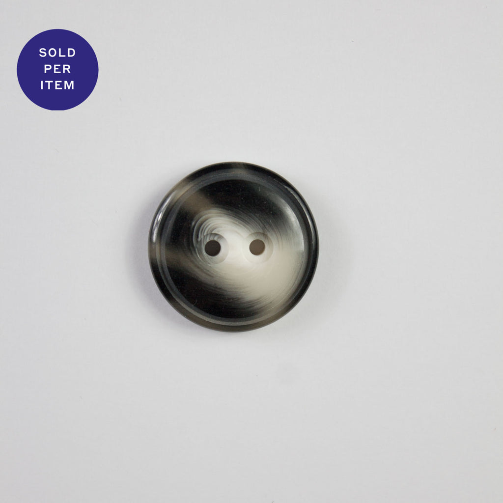 George Black and Ivory 2-Hole Plastic Button - 22mm