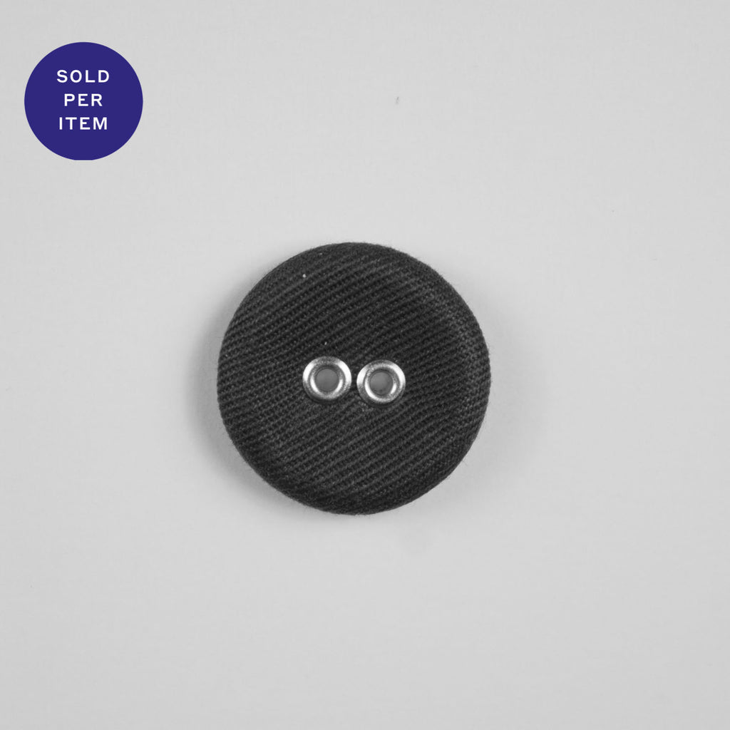 Dark Grey 2-Hole Fabric Covered Button - 20mm