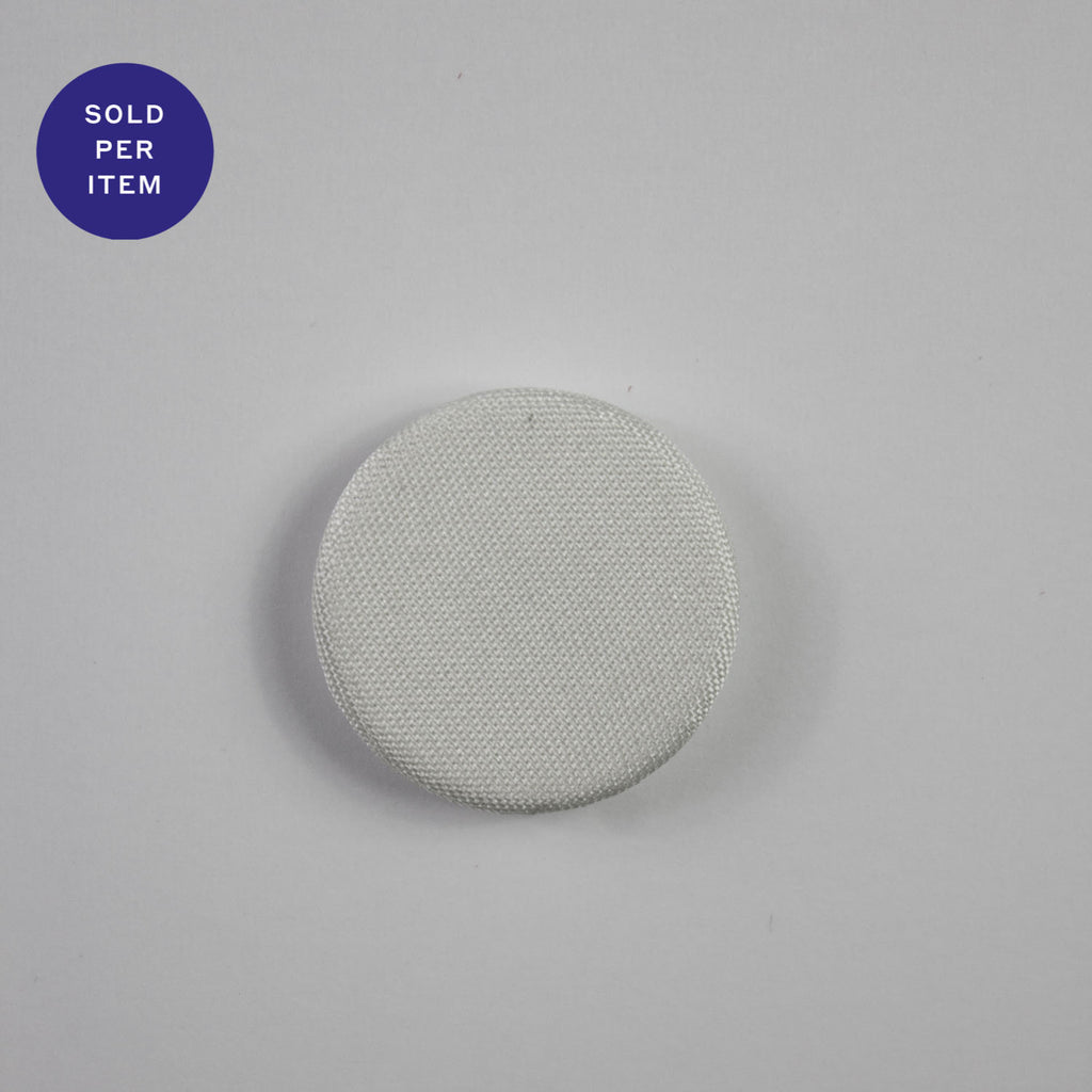 White Glossy Fabric Covered Button - 22mm