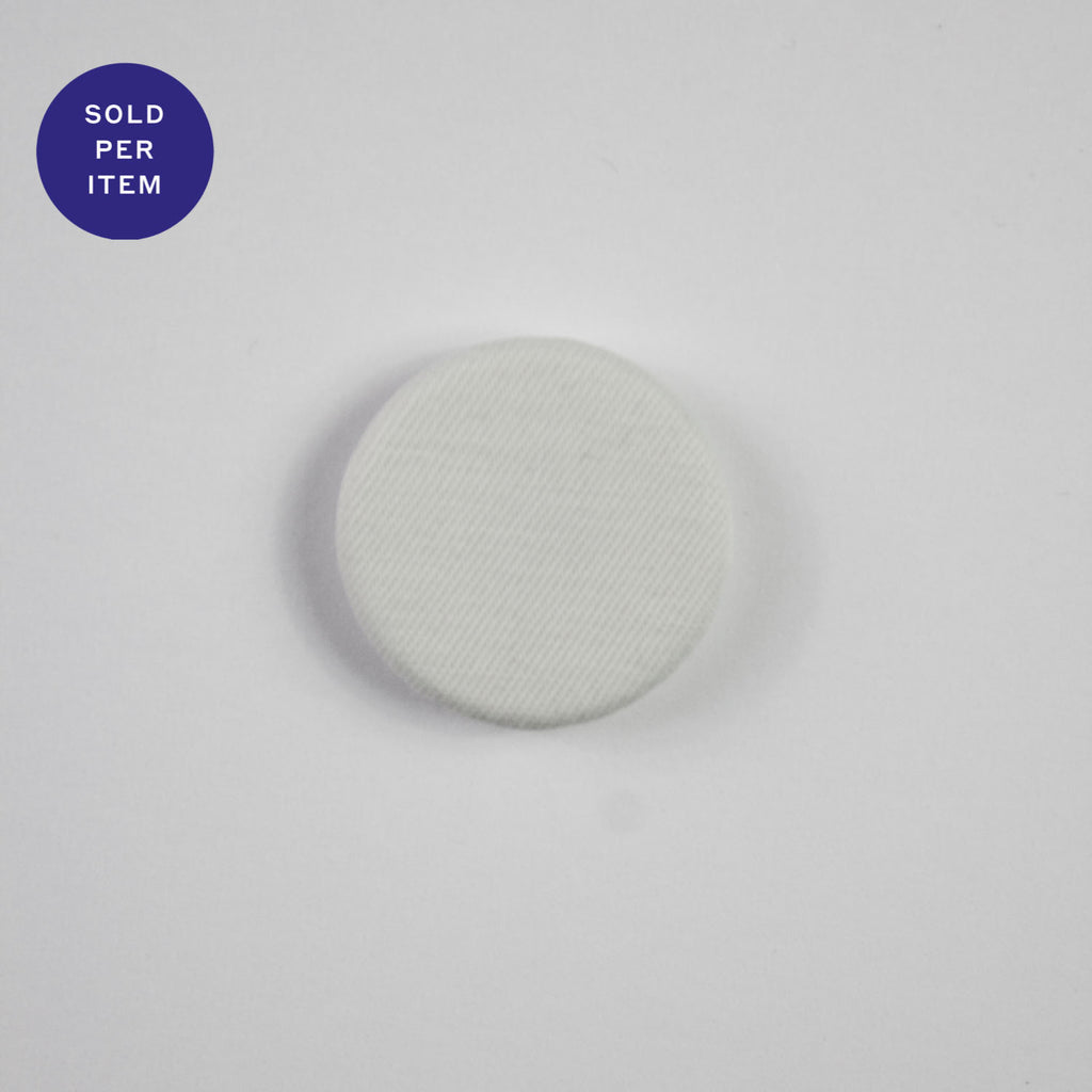 White Fabric Covered Button - 20mm