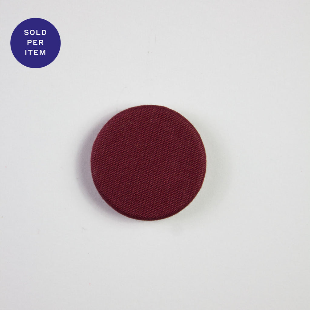 Wine Red Fabric Covered Button - 22mm