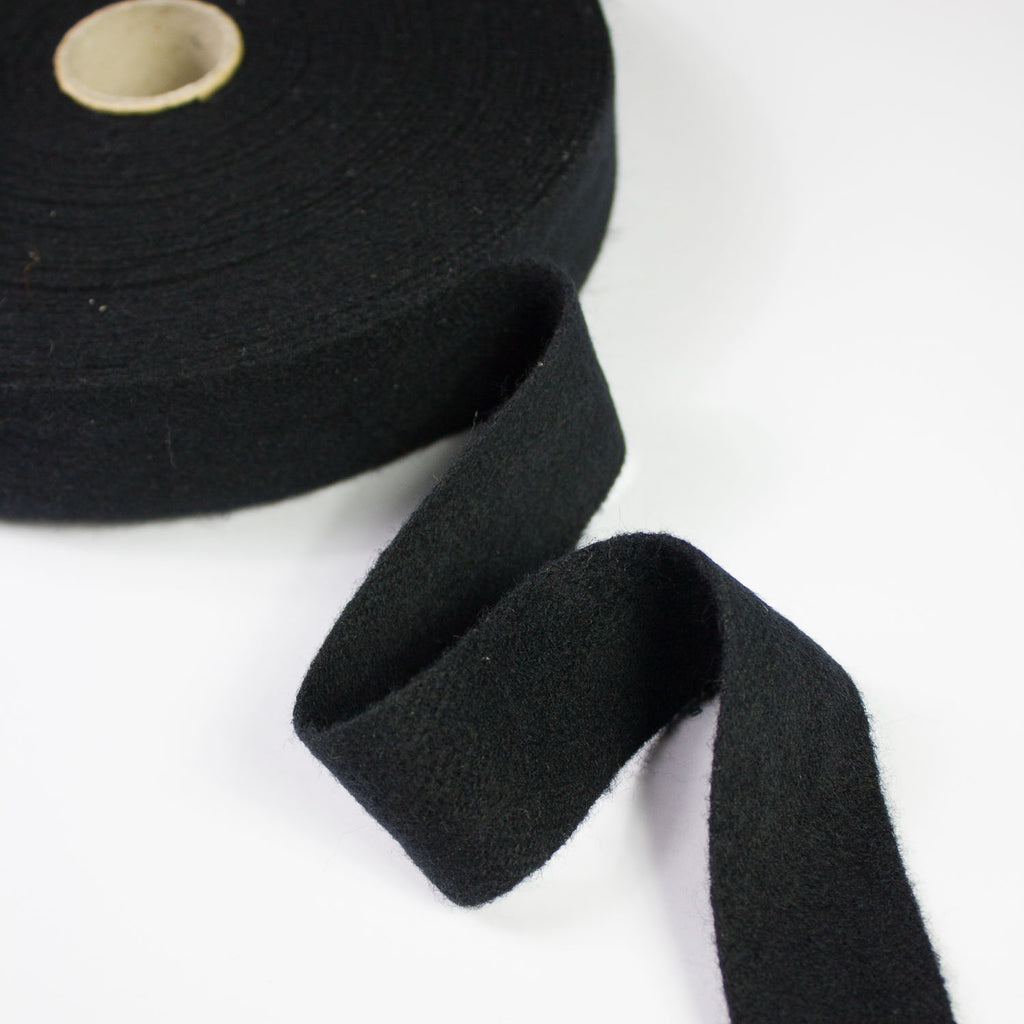 Black Wool Bias Tape 30mm