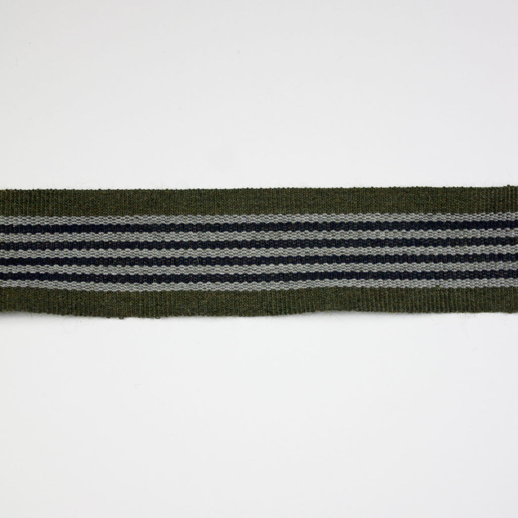 Military Green Striped Wool Bias Tape 30mm