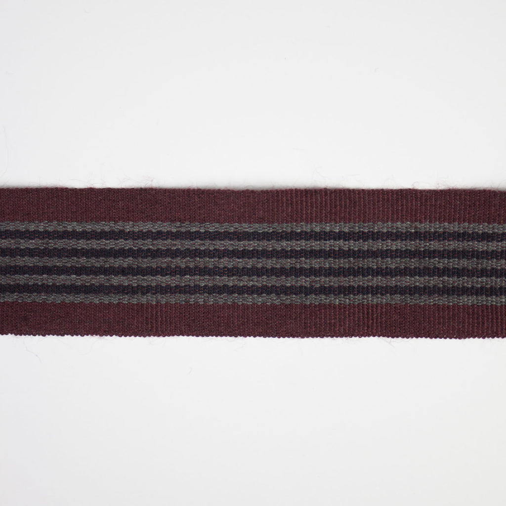 Bordeaux Striped Wool Bias Tape 30mm