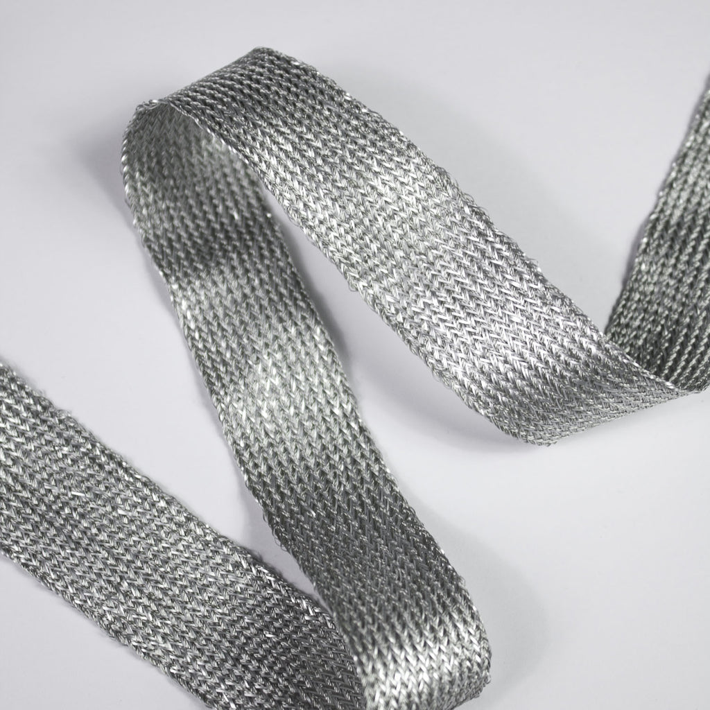 Diana Silver Silk and Lurex Ribbon - 25mm