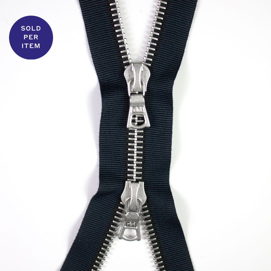 Two Way Navy and Black Metal Separating Zipper With Silver Pull and Teeth