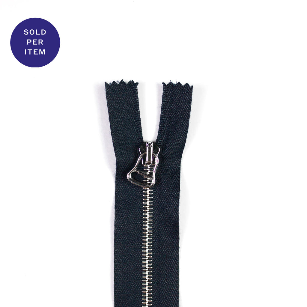 Two Way Navy Metal Separating Zipper With Silver Pull and Teeth - 65cm