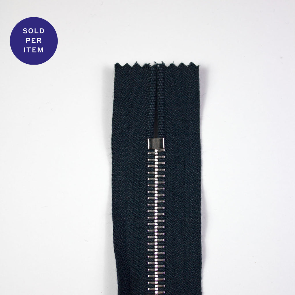 Navy Metal Closed End Zipper With Silver Pull and Teeth