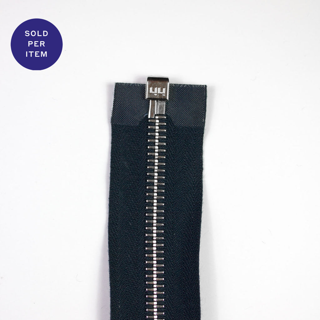 Navy Metal Separating Zipper With Silver Pull and Teeth - 100cm