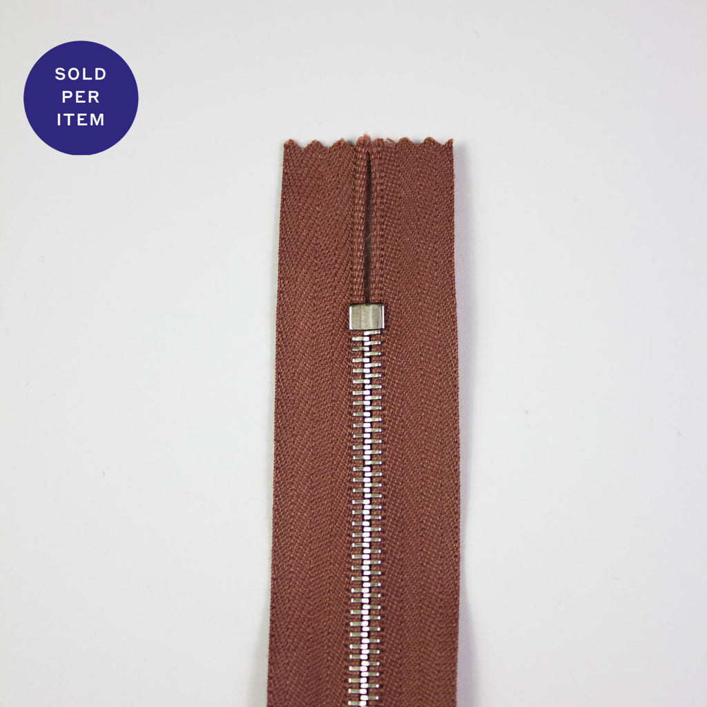 Old Pink Metal Closed End Zipper With Silver Pull and Teeth - 30cm