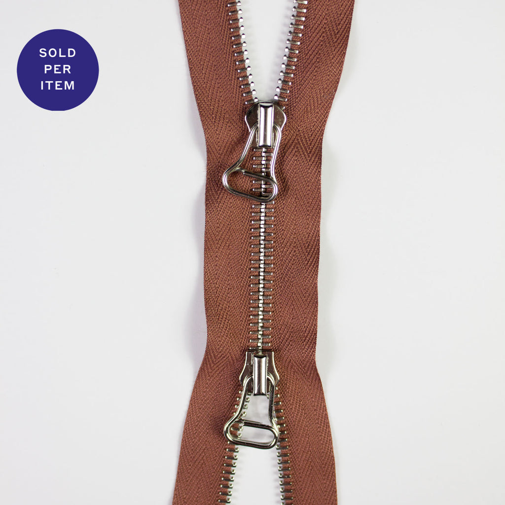 Two Way Old Pink Metal Separating Zipper With Silver Pull and Teeth - 65cm