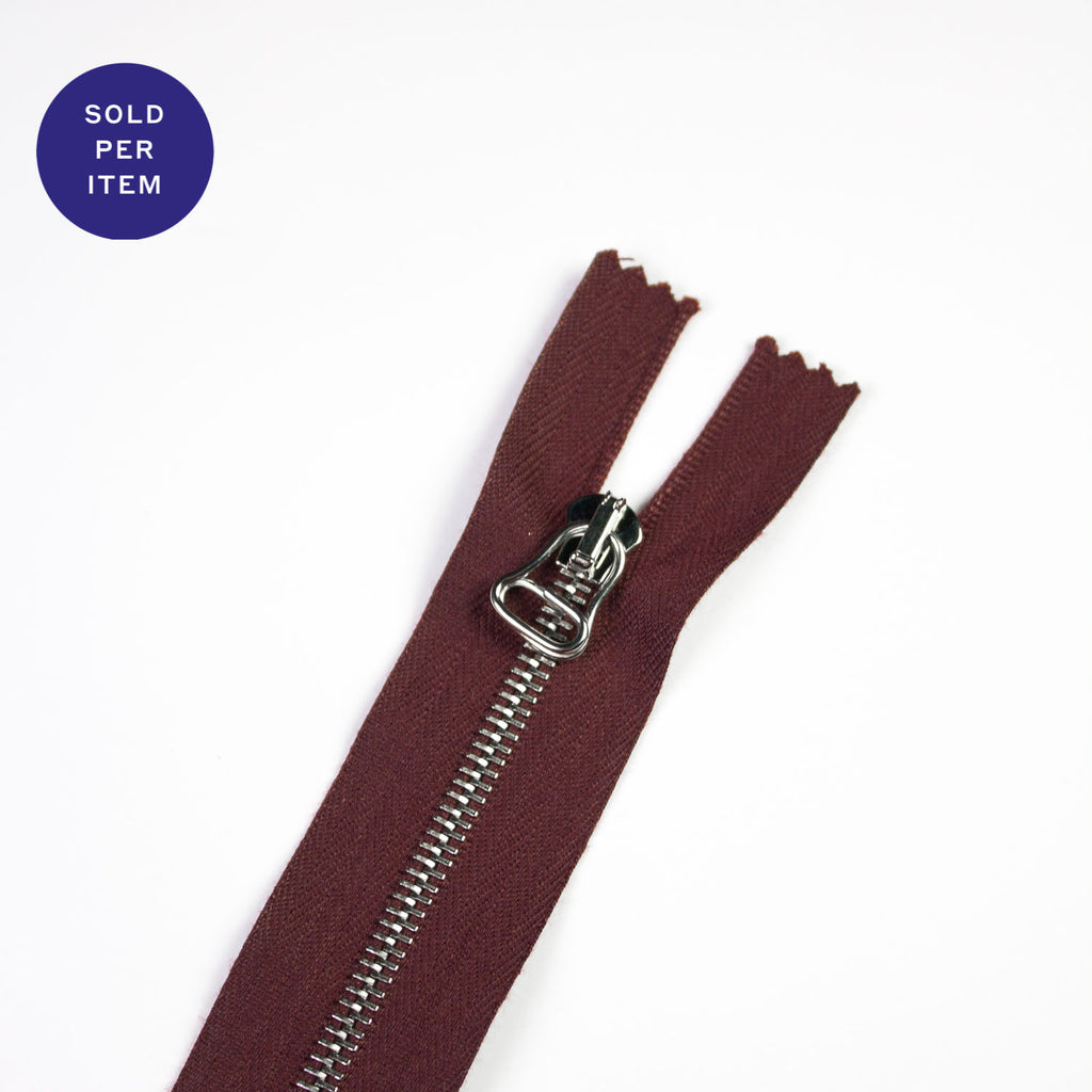 Wine Metal Closed End Zipper With Silver Pull and Teeth - 30cm