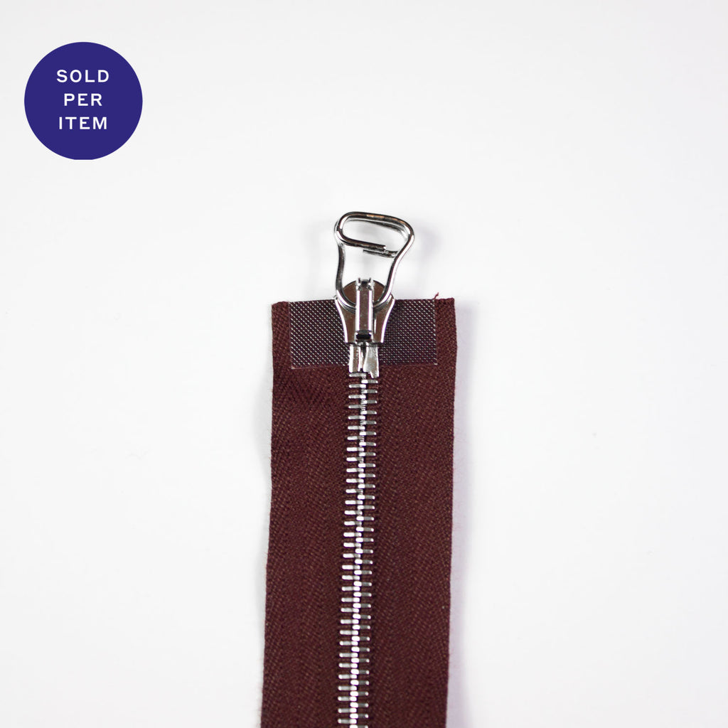 Two Way Wine Metal Separating Zipper With Silver Pull and Teeth - 65cm