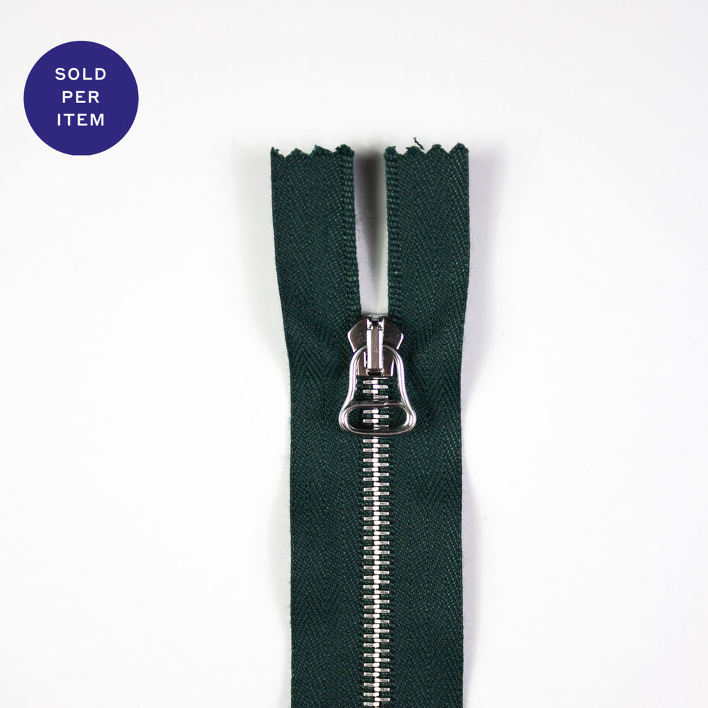 Deep Green Metal Closed End Zipper With Silver Pull and Teeth - 30cm