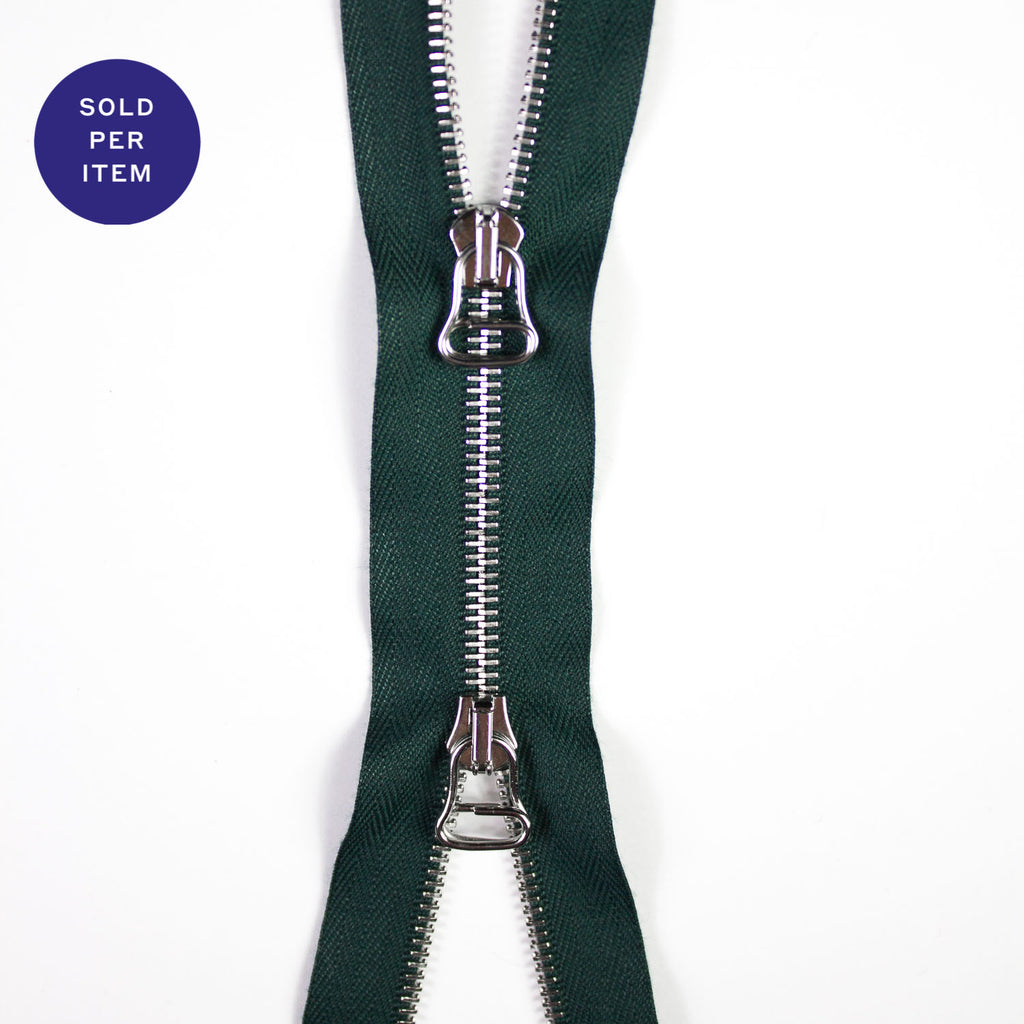 Two Way Deep Green Metal Separating Zipper With Silver Pull and Teeth - 65cm