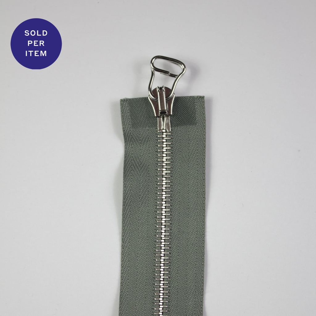 Two Way Sage Metal Separating Zipper With Silver Pull and Teeth - 65cm