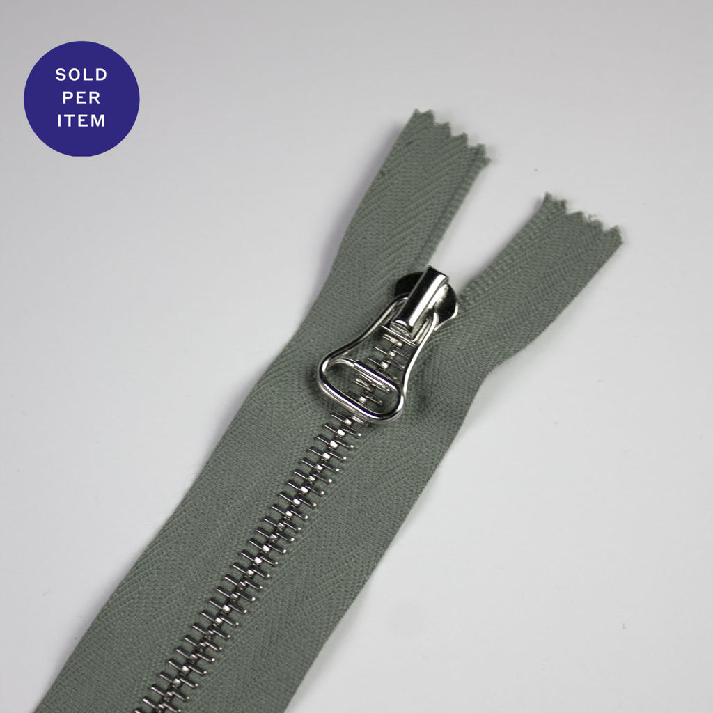 Sage Metal Closed End Zipper With Silver Pull and Teeth
