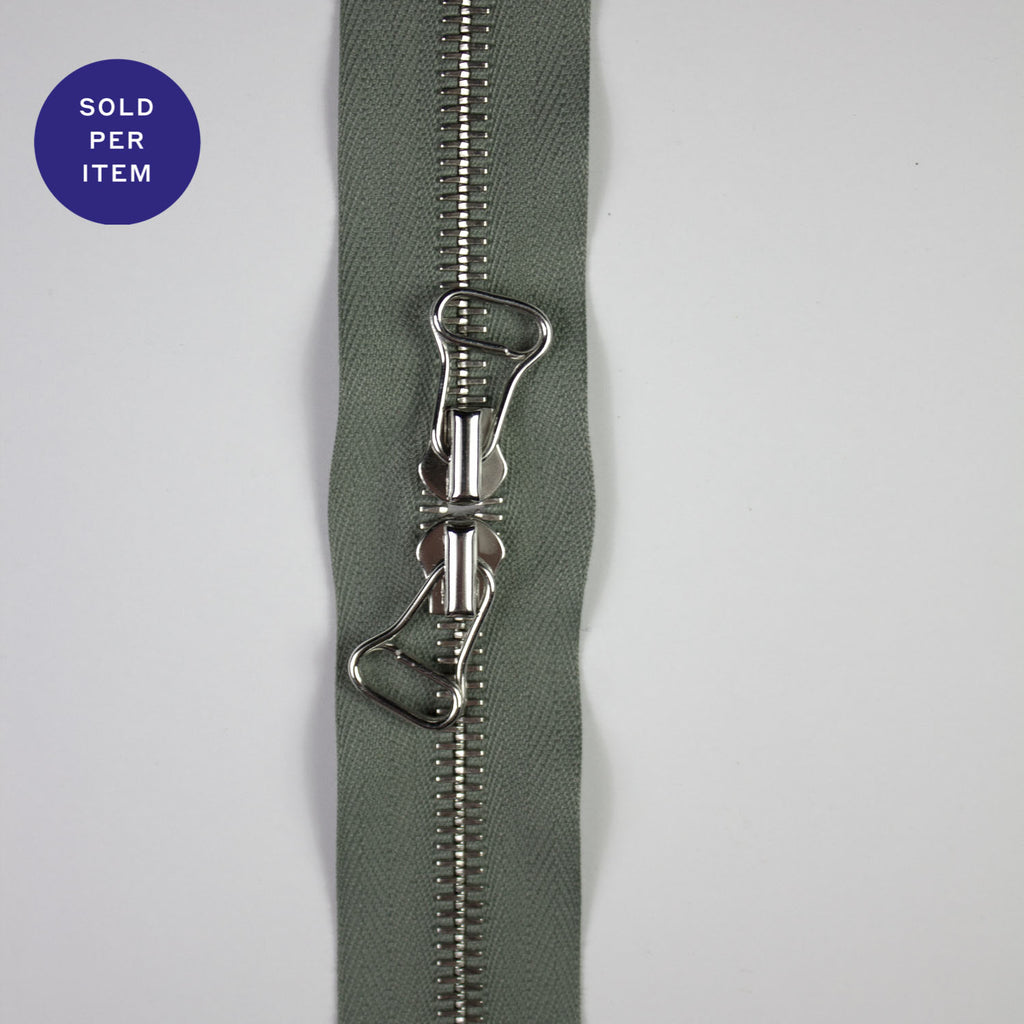 Two Way Sage Closed End Metal Zipper - 160cm