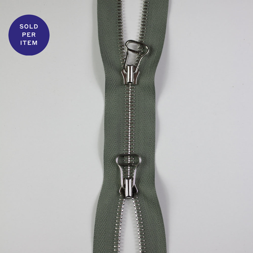 Two Way Sage Metal Closed End Zipper With Silver Pull and Teeth - 175cm