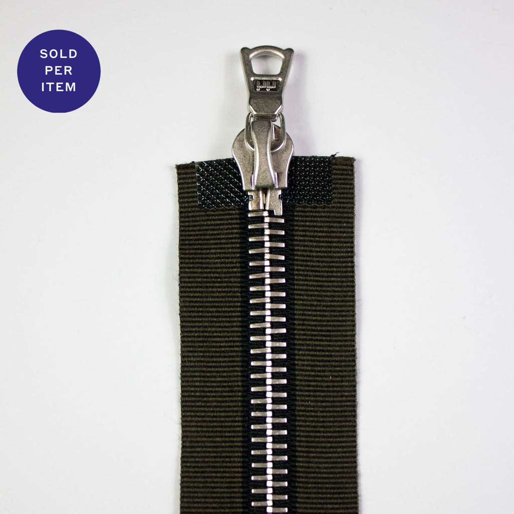 Two Way Military Green and Black Metal Separating Zipper With Silver Pull and Teeth