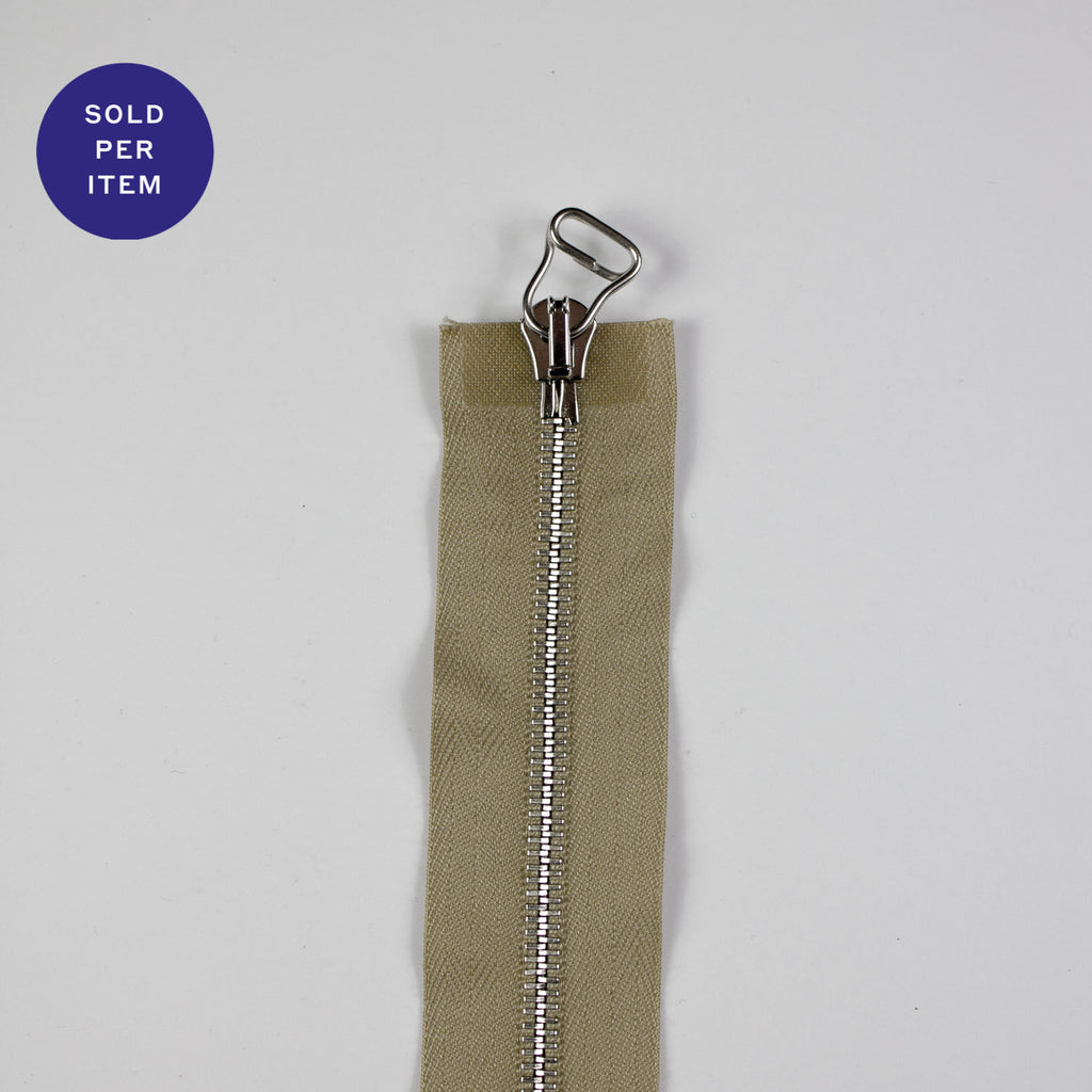 Two Way Sand Metal Separating Zipper With Silver Pull and Teeth - 65cm