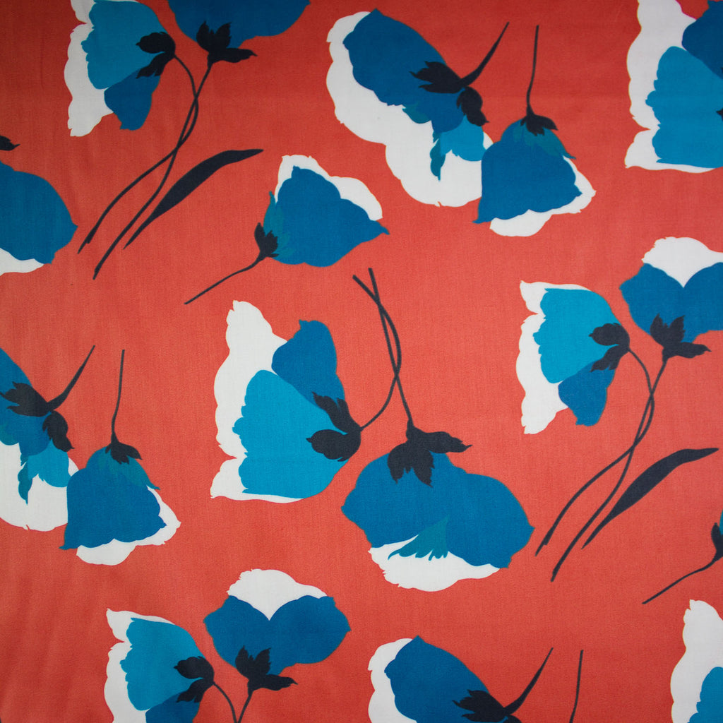 Lozane Red Floral Printed Cotton