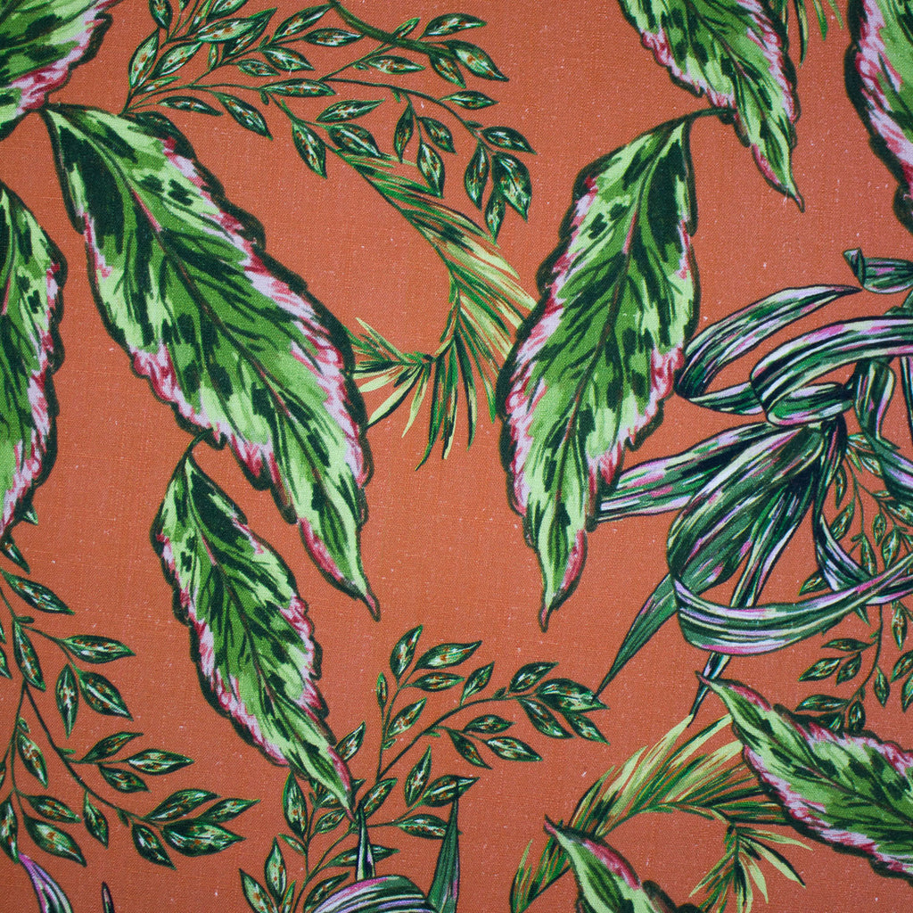 Palma Tangerine Floral Printed Viscose and Linen Blend