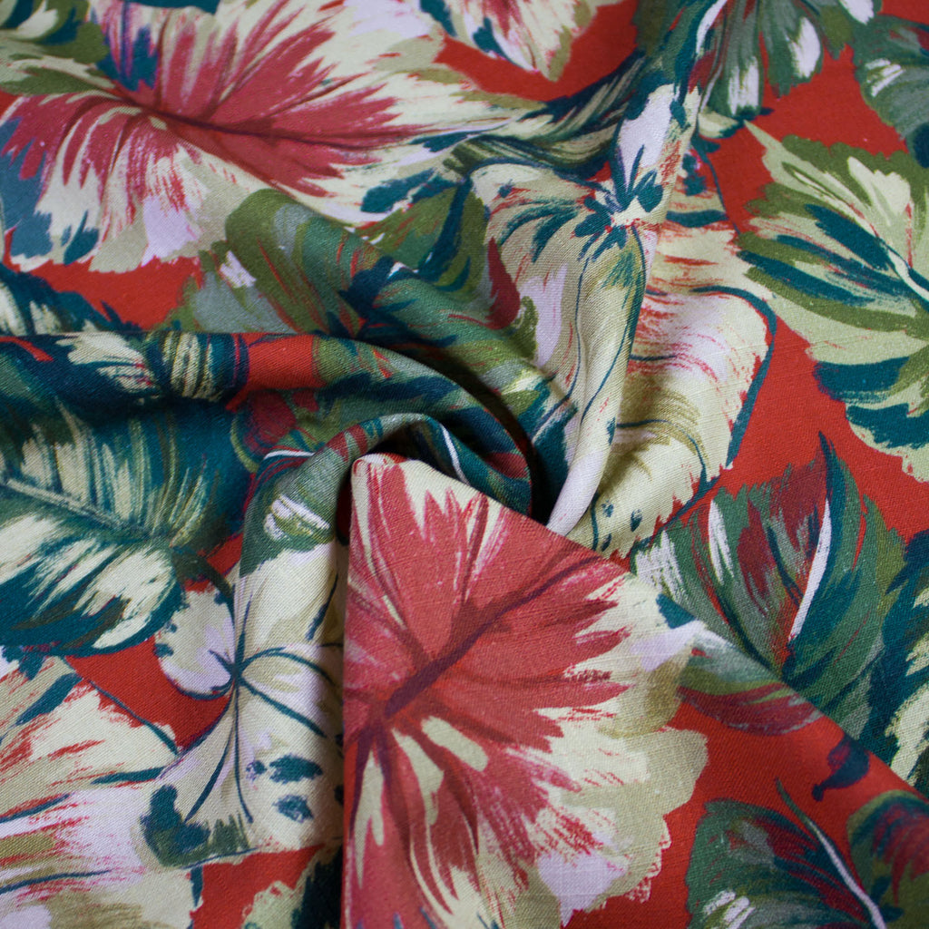 Apia Multicolour Printed Viscose and Linen Blend