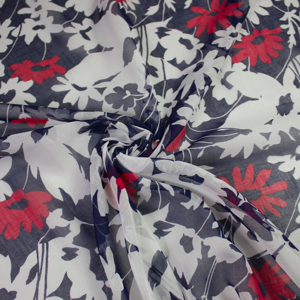 Nina Navy Floral Cotton Voile