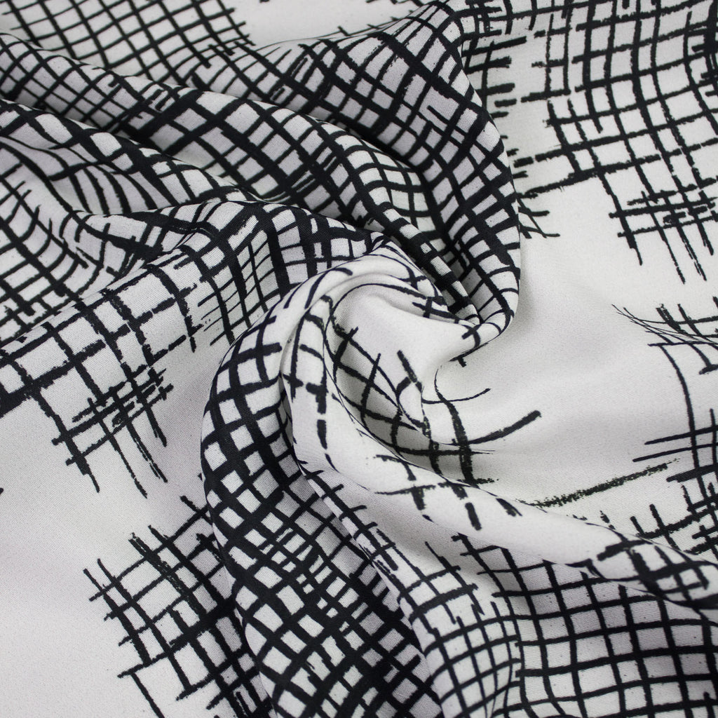 White and Black Abstract Printed Viscose