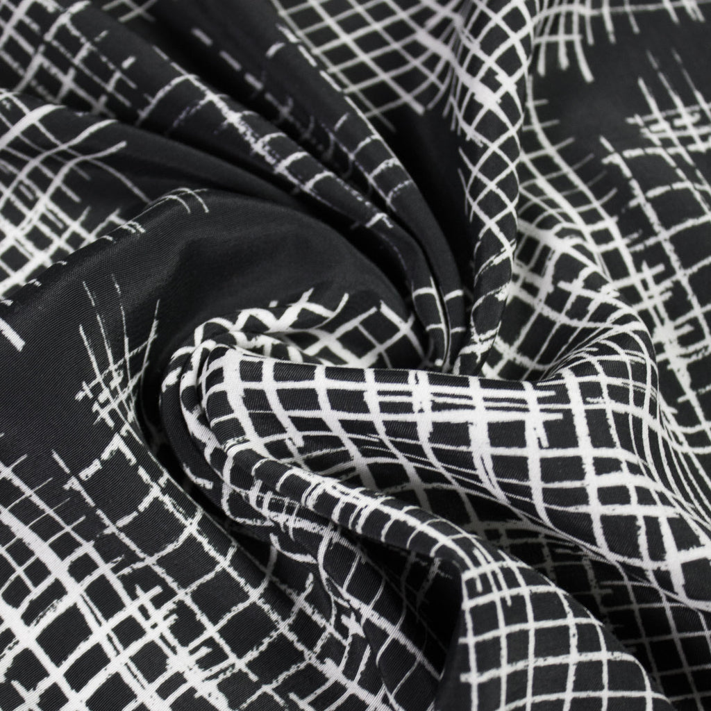 Black and White Abstract Printed Viscose