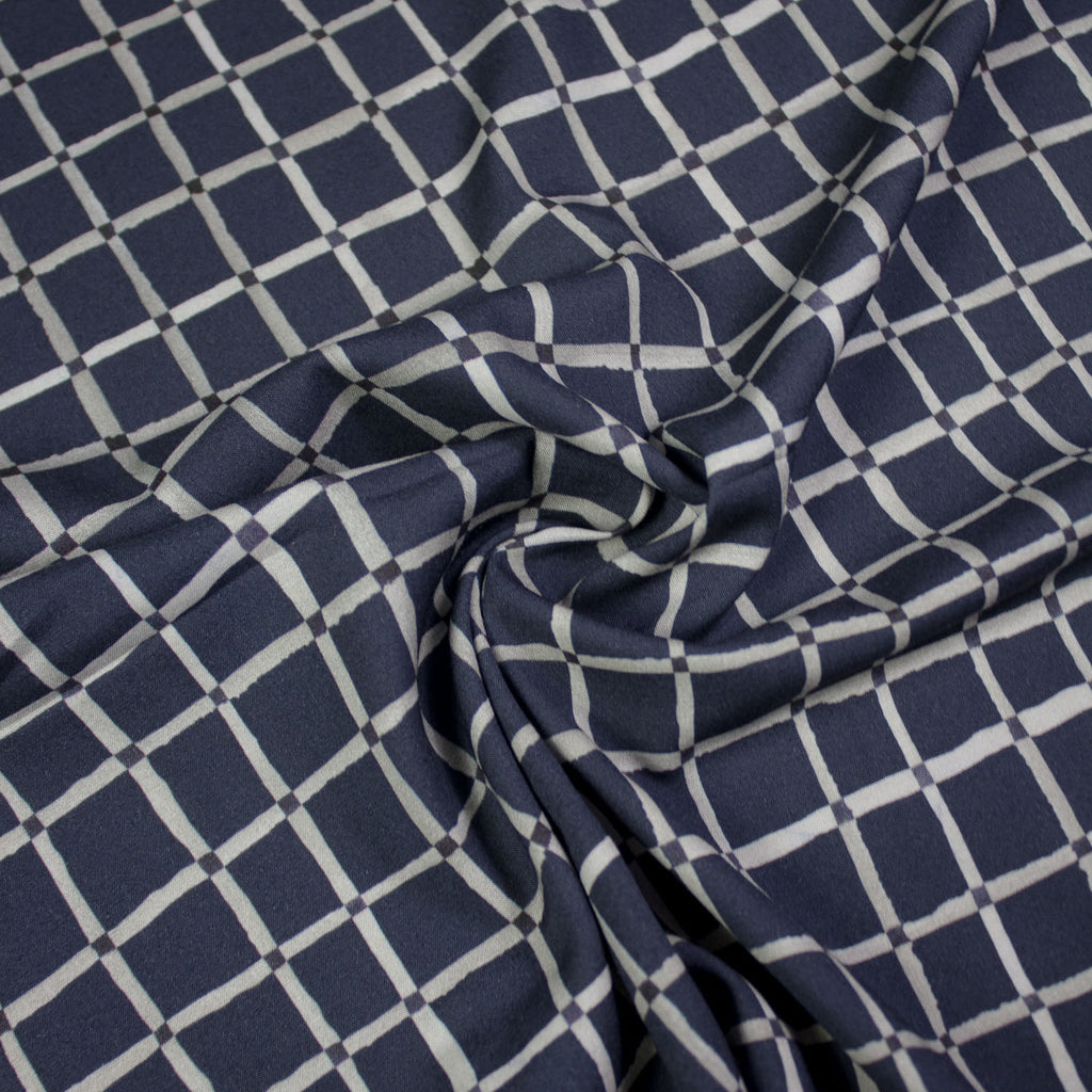 Smith Navy Tartan Stretch Viscose