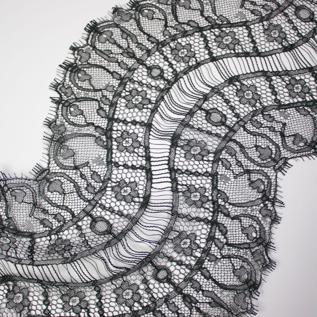 Anthracite Grey Galon Haute Couture Lace