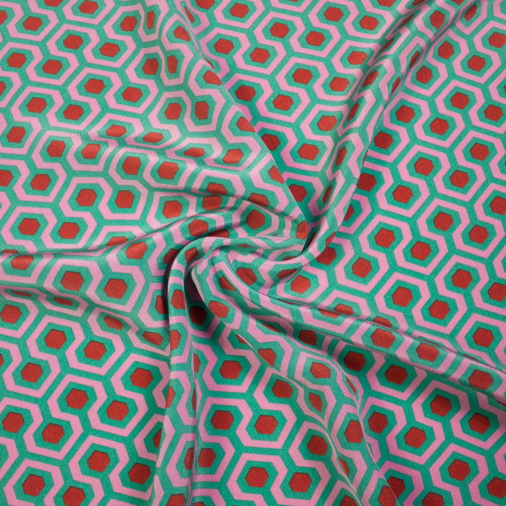 Archibald Green Pink Printed Silk