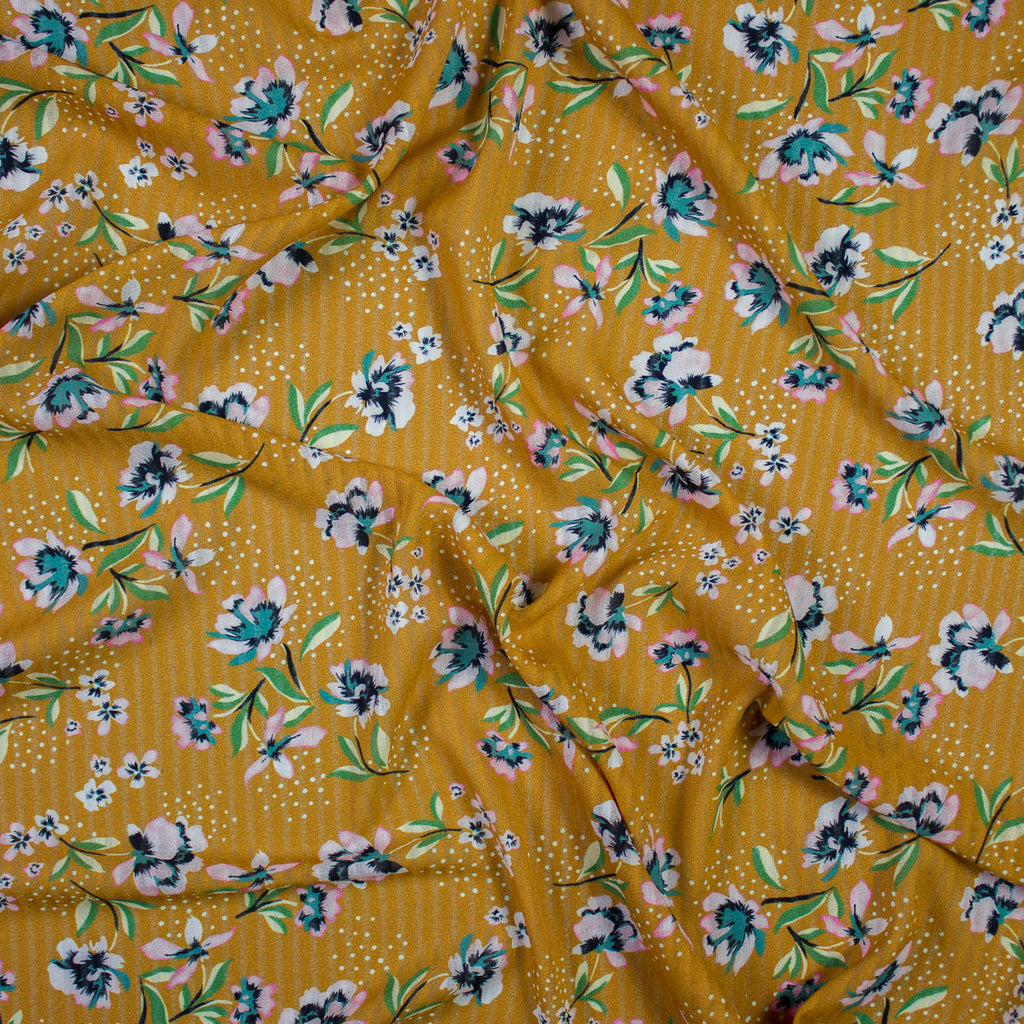 Mustard Floral Print Polyester