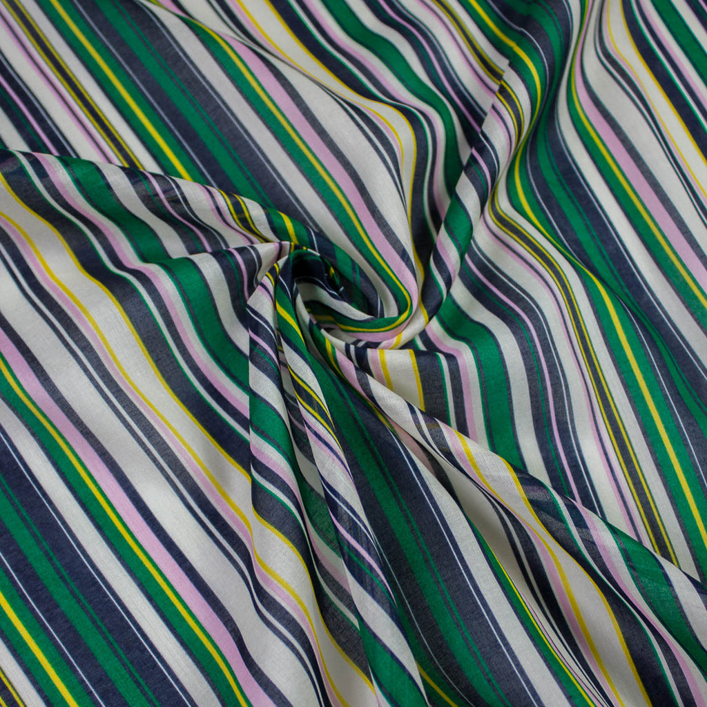 Multicolour Striped Cotton Voile