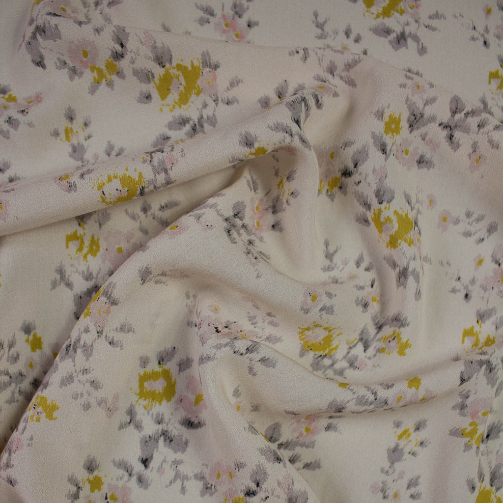 Cream Floral Printed Viscose