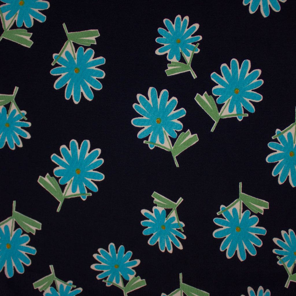 Black/Turquoise Flower Viscose
