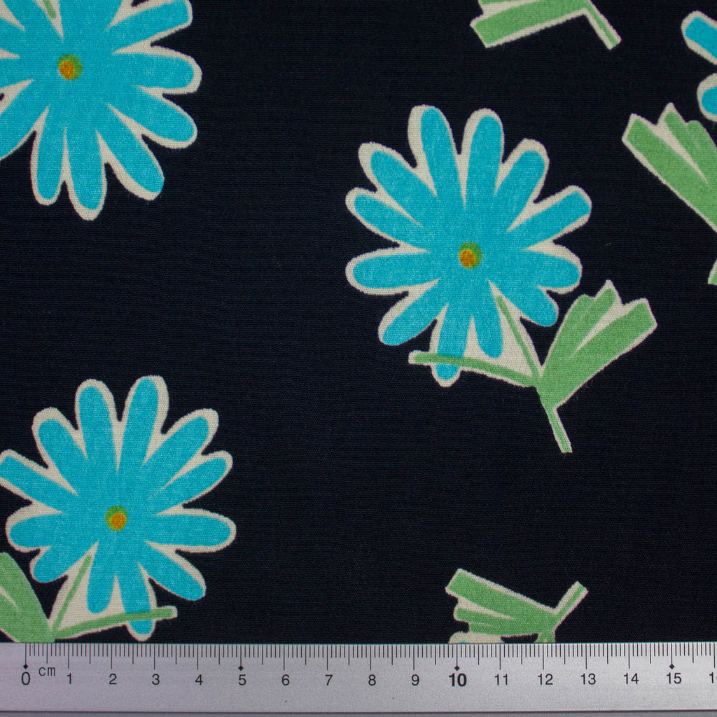 Irina Black & Turquoise Flower Viscose