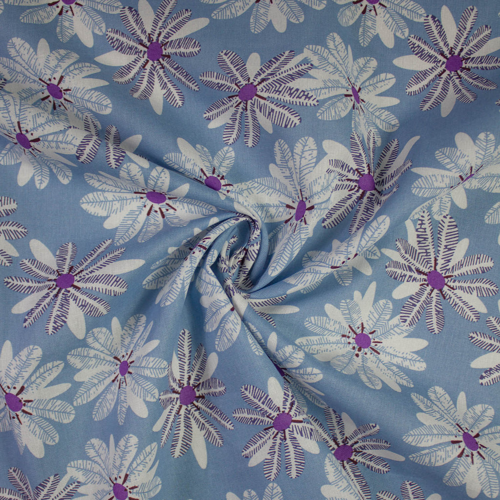 Nicole Dusty Blue Flower Cotton