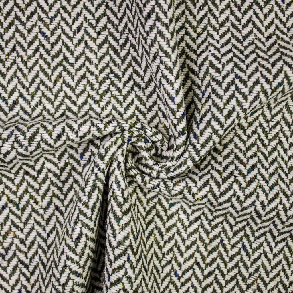 Liam Green & White Herringbone Wool