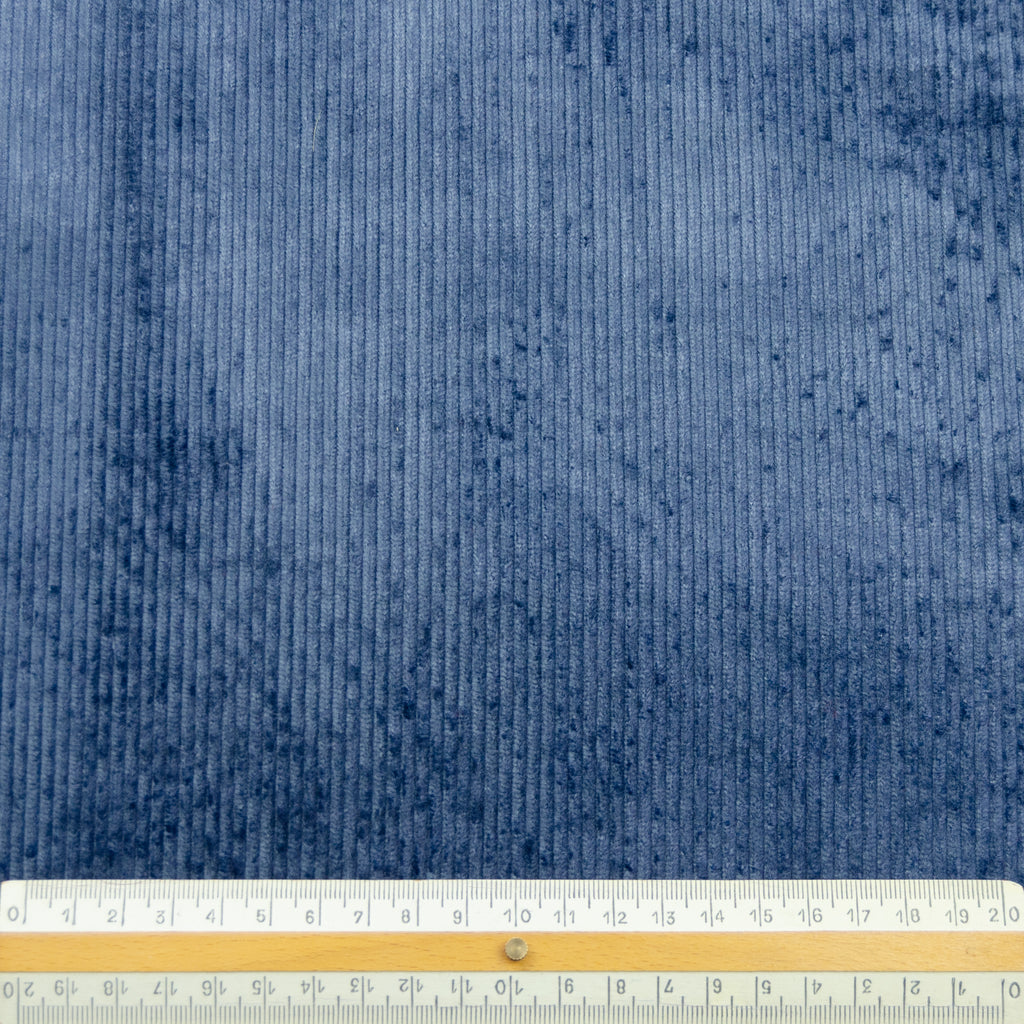 Cade Blue Grey Stretch Cotton Corduroy