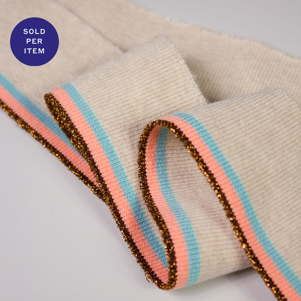 Judy Fluo Coral, Bronze & Light Blue Organic Cotton Rib Knit Cuff